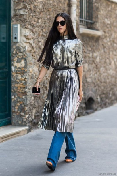 jgsy9m-l-610x610-dress-dress+pants-midi+dress-pleated+dress-silver+dress-short+sleeve-short+sleeve+dress-belted+dress-belt-pants-blue+pants-sunglasses